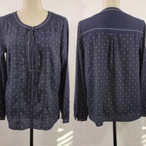 Tommy Hilfiger Nautical Print Peasant Blouse Top M